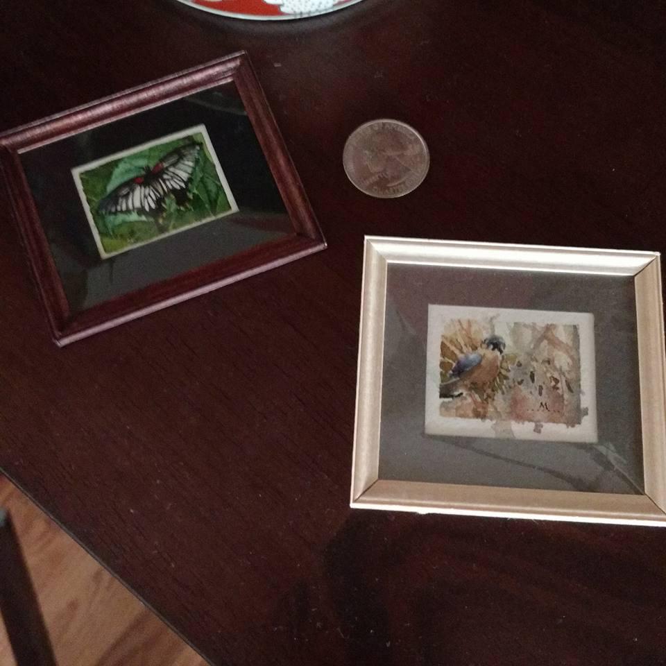 framed miniature watercolors