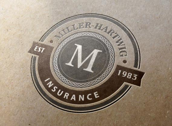 Miller-Hartwig Insurance letterpress logo design mockup