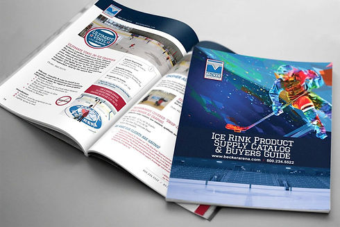 Becker Arena magazine design mockup