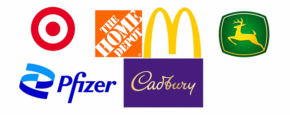 Brand logo of famous companies using colors of their brand identity