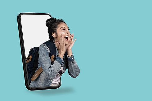 Woman coming out of the phone screen shouting