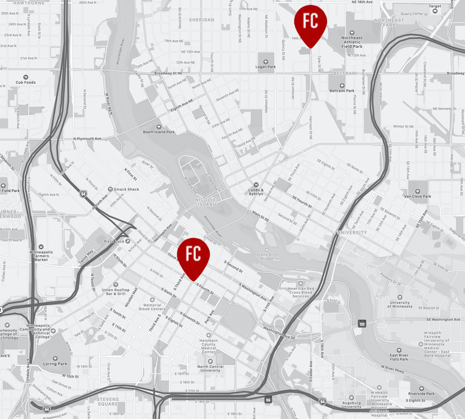 Map with pins of meeting place, spaces, and event venue at Minneapolis, MN.