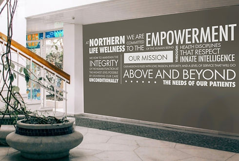 Northern Life Wellness trade show backdrop design with speech text collage layout