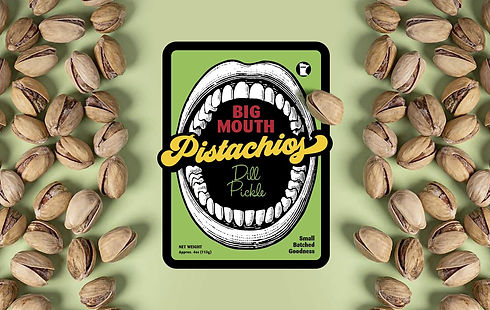 Big Mouth Pistachios branding name and tagline