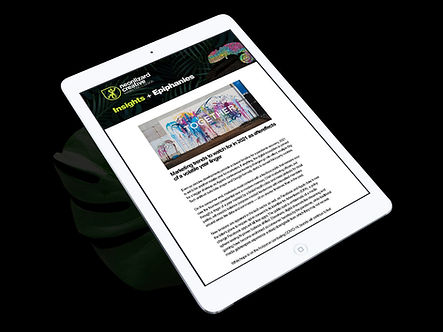 Newsletter design mockup in an iPad