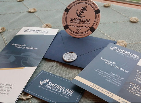 Shorline Insurance Group business card design, flyers, brochures, stamp and pin