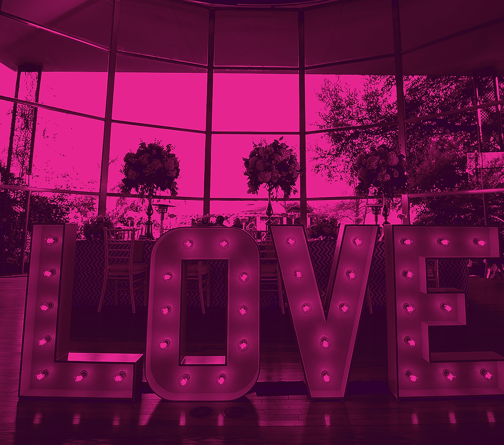 Typography marquee lights spelled LOVE