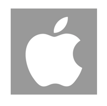 Apple logo in white and gray background