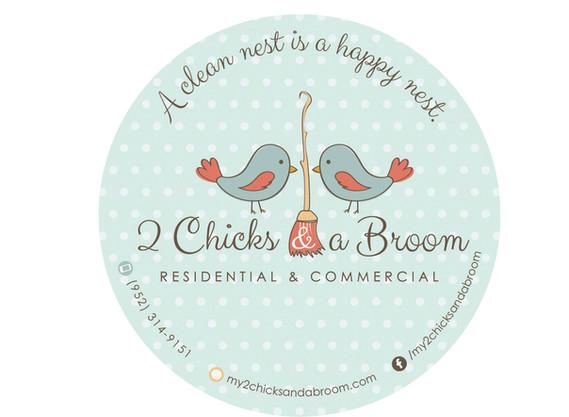 2 Chicks & a Broom branding design