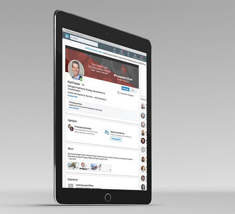 LinkedIn webpage layout design in tablet view