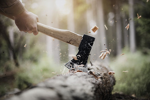 Hitting a wood with a axe