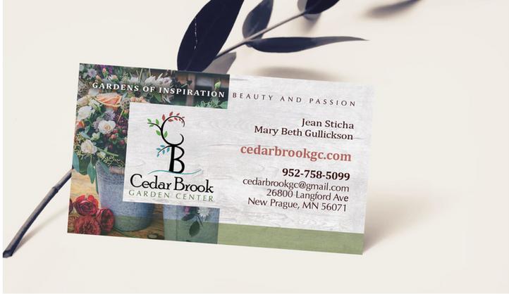 Cedar Brook Grarden Center business card design