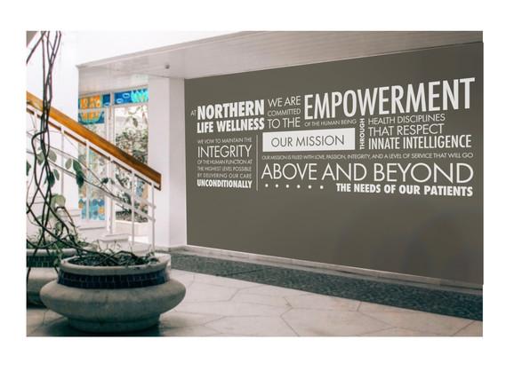 Northern Life Wellness speech text collage wall design