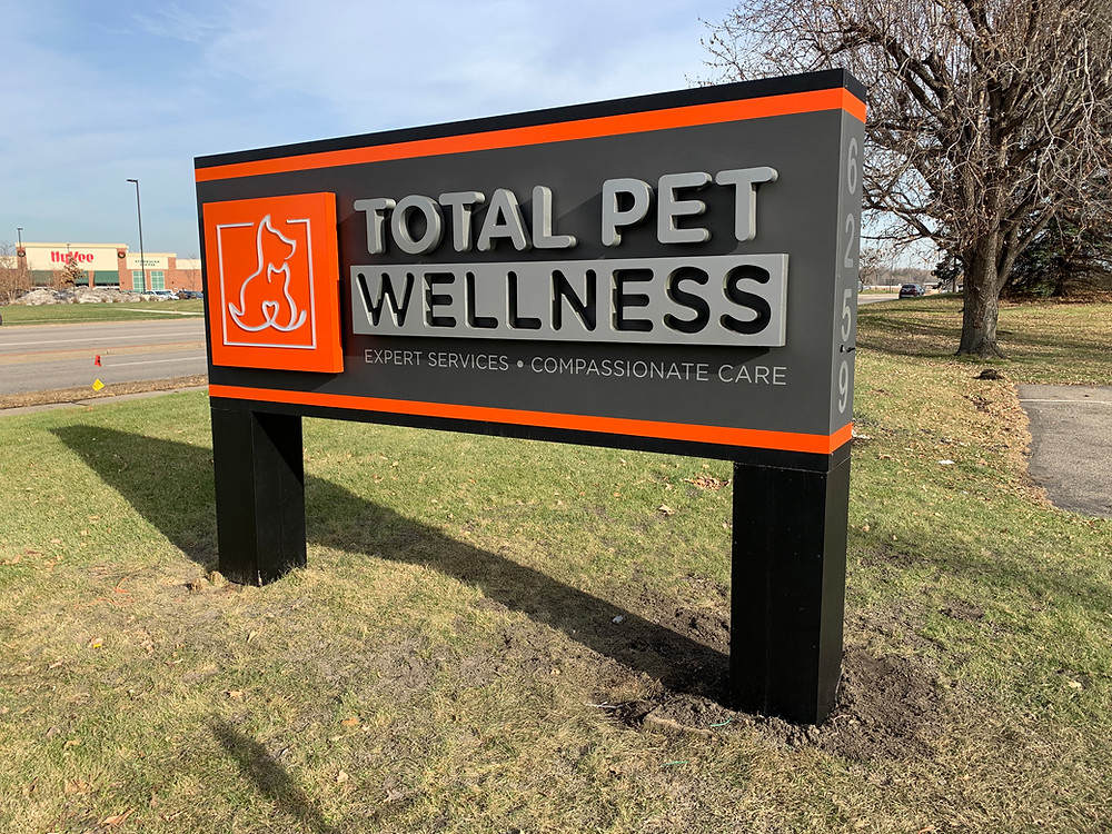 Total Pet Wellness business sign post and signage design