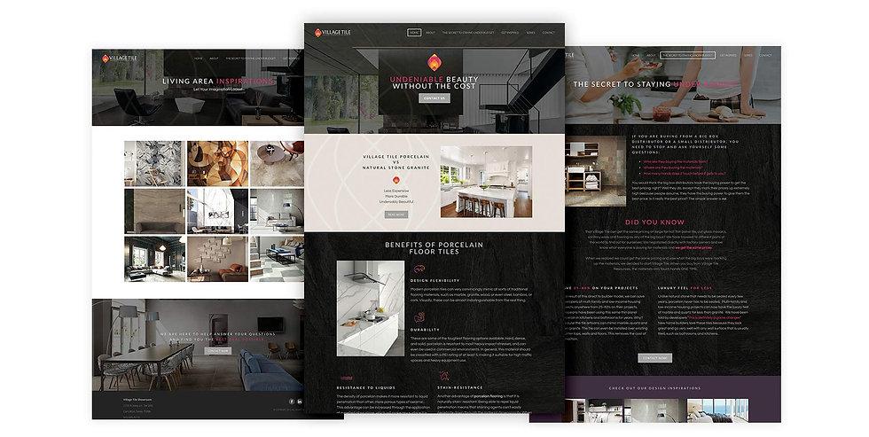 Village Tiles website design in Photoshop mockups
