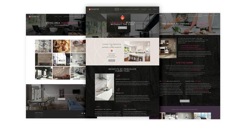 Village Tiles website design PSD mockups