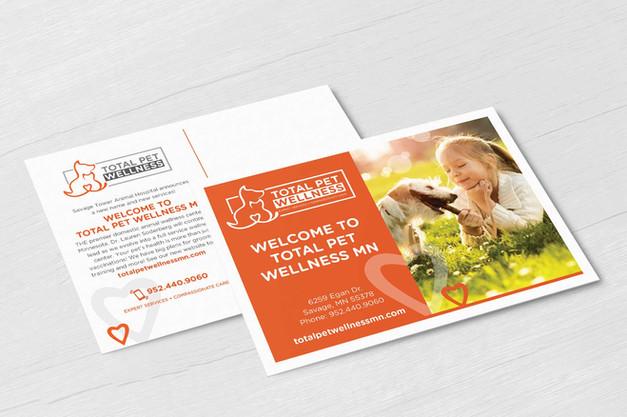 Total Pet Wellness postcard design mockup