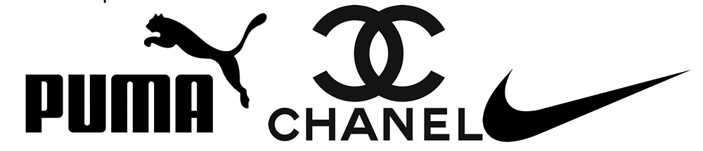 Puma, Chanel and Nike logo in black and white