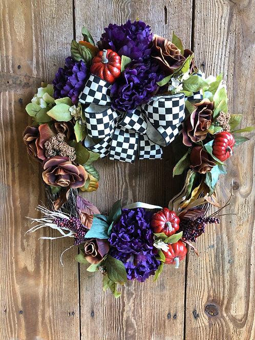 Pumpkins and Peonies Wreath