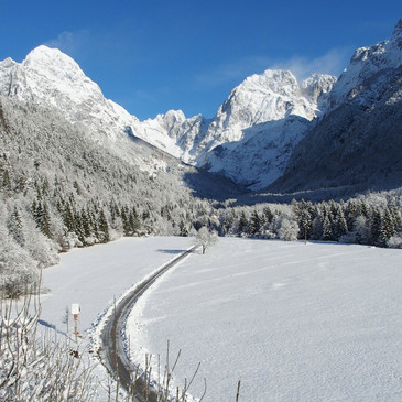 Road to koritnica in winter