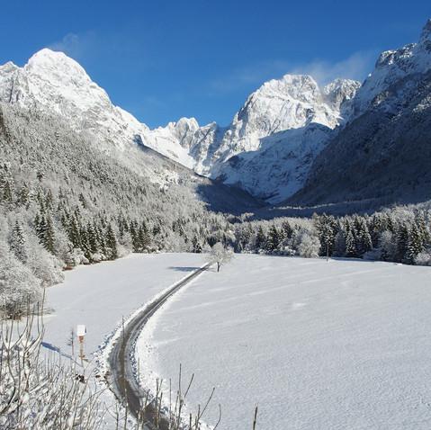 Road to koritnica in winter