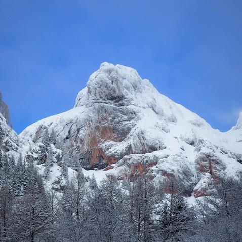 Mangart peak cover in snow