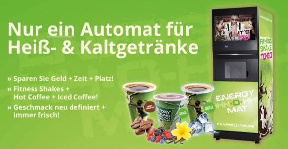 ENERGY-O-MAT: Ein Automat für Eiweißshakes, Iced Coffee Shakes und heißen Kaffee