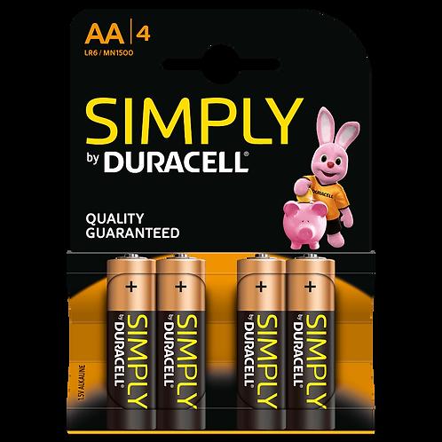 LR6 AA Duracell Simply Alcalina blister 4 unidades