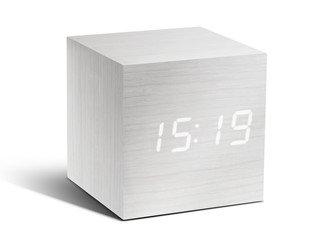 GK08W13 - Cube Click Clock - Blanco