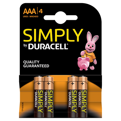 LR3 AAA Duracell Simply Alcalina blister 4 unidades