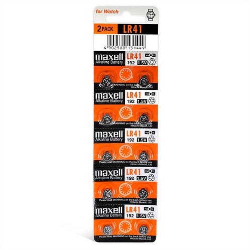 10 x LR41 Maxell Pila Alcalina 1,5V