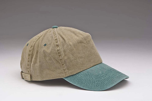 EC11 Pigment Dyed Garment Washed Cotton, Two Tones DK.GREEN_TAN