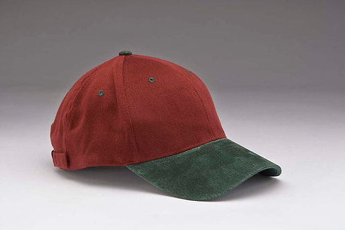 EC07 Heavyweight Brushed Cotton with Suede Peak GREEN_BURGUNDY