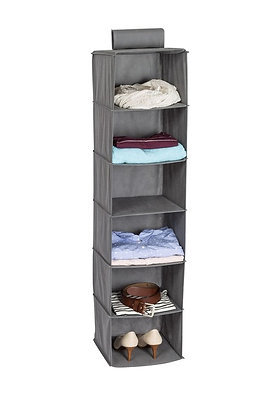 6-Shelf Hanging Soft Sided Organizer, Grey