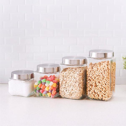 Sq. 4 Pc Glass Canister Set