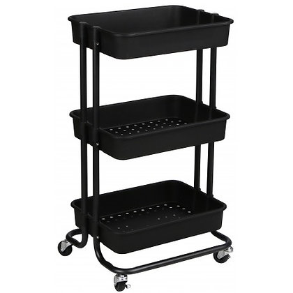 3 Tier Rolling Cart Black