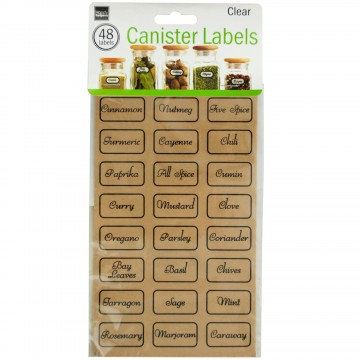 Clear Kitchen Canister Labels Set