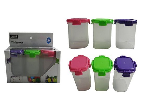 3PC Tall 5oz Containers With Locks