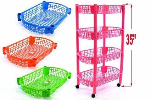 4 Tier Plastic Trolley
