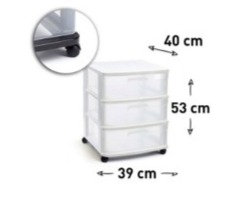 Storage unit 3 drawers with wheels WHITE