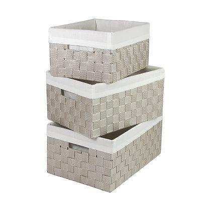 Three Pc Basket Set- Beige/White