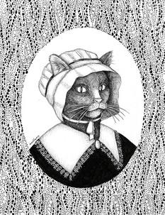 CAT IN BONNET