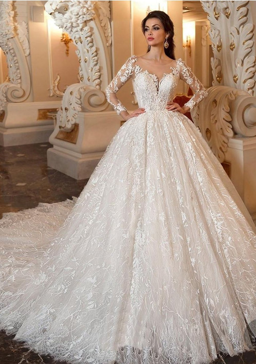 Luxury Champagne Beaded Long Sleeve Lace Ball Gown Wedding Dresses