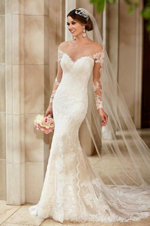 Long sleeve lace backless mermaid wedding dresses bridal gowns gorgeous long sleeve mermaid lace backless wedding dress md297 junglespirit Choice Image