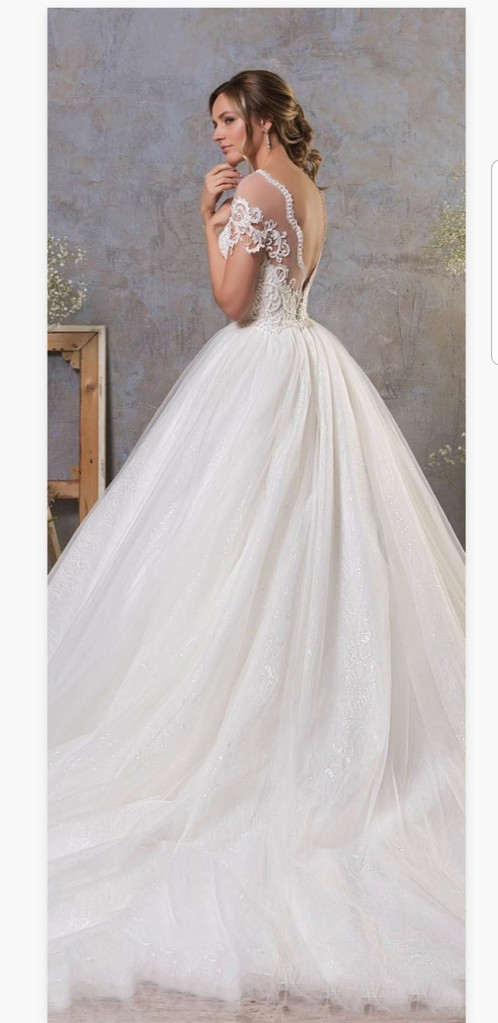 Beaded Lace Cap Sleeve Bridal Gown A Line Pearls Wedding Dresses MD431