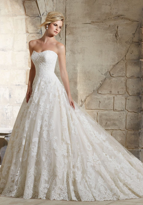 Luxury Princess Strapless Sweetheart Lace Ball Gown Wedding Dresses ...