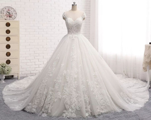 Luxury Cap Sleeve Lace Ball Gown Cathedral Train Wedding Dresses