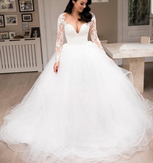 Sheer V Neck Ball Gown Tiered Tulle Long Sleeve Lace Wedding Dresses