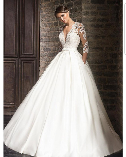 Ball Gown Off The Shoulder 34 Sleeves Tulle Wedding Dress With Lace