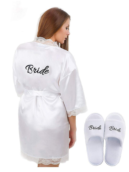 White Satin Robe with Bride print on Back and matching Bride Slippers